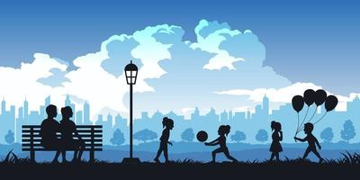 Silhouette of activities of people in park vector