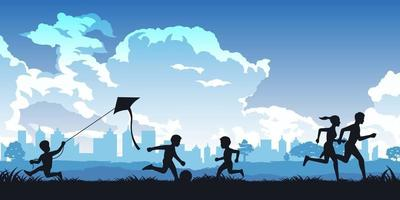 Silhouette of people running and playing in a park vector
