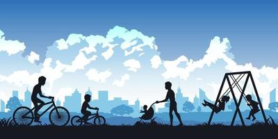 Silhouette of people enjoying a park vector