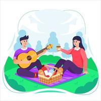 Couple Having Picnic in Park vector