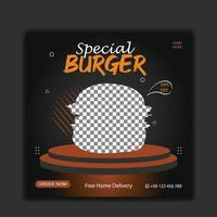Delicious burger and food menu social media post vector