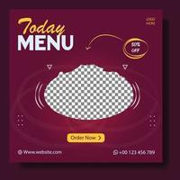 Food menu and restaurant social media template vector