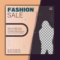 Fashion sale post and social media banner template vector