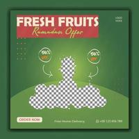 Best fruits social media banner green colors vector