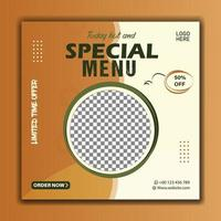 best food menu social media instgaram template yellow and white color vector