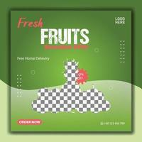 Fresh fruits social media post template vector
