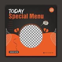 Today food menu social media post template black and orange color vector
