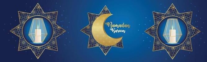banner de celebración del festival islámico ramadan kareem con luna creativa y linterna vector