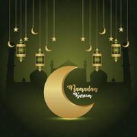 tarjeta de felicitación de invitación al festival islámico de ramadan kareem con luna creativa y linterna vector