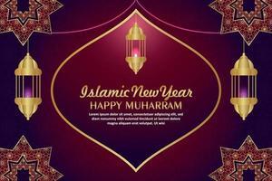 Tarjeta de felicitación de celebración de muharram feliz año nuevo islámico con linterna creativa sobre fondo de patrón vector