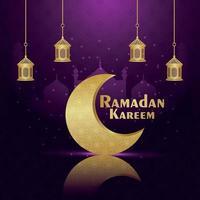 Tarjeta de felicitación de invitación de Ramadán Kareem con vector de luna dorada y linterna