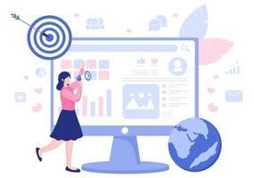 Social Media Marketing Illustration For Advertising Online Service Platform, Online Course, Analytic, Ad Management Software, Website vector