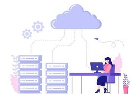 Computer Cloud Server Hosting Storage Illustration Of Data Transmission Technology and Protection With Administrator or Developer Team vector