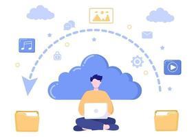 Cloud Backup Storage illustration of Computer System For Information Sharing, Hosting, Saving, Copying File, Server, and Data Center vector