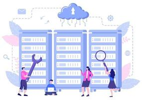 Ilustración privada de la nube de datos para acceder al alojamiento o la base de datos y la protección de datos. concepto de negocio de escudo de seguridad cibernética de Internet vector
