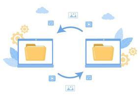 Ilustración de almacenamiento de copia de seguridad en la nube del sistema informático para compartir información, alojar, guardar, copiar archivos, servidores y centros de datos vector