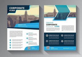 blue flyer business template vector