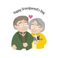 tarjeta de felicitación del día de los abuelos felices. familia mayor con perro. vector