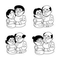Pareja de ancianos enamorados Dibujado a mano anciano y mujer abrazándose juntos. vector