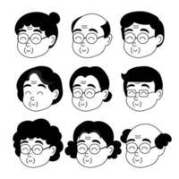 Old people cartoon avatars set. Cartoon illustration vector