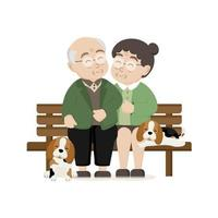 Happy Grandparents day greeting card. Senior family with dog. vector