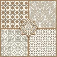 Seamless Islamic patterns set in beige vector