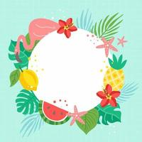 Summer Tropical Element Frame Background vector