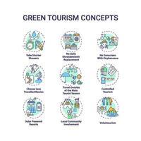 Conjunto de iconos de concepto de turismo verde vector