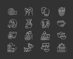 Chinese holidays chalk white icons set on black background vector