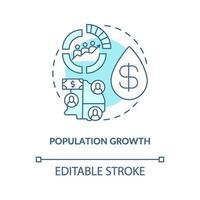 icono del concepto de crecimiento de la población vector