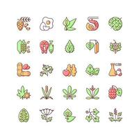 Allergy cause RGB color icons set vector