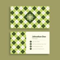 plantilla de tarjeta de visita de patrón geométrico verde vector