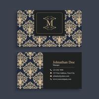 Dark Blue Elegant Business Card Template vector
