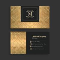 elegante plantilla de tarjeta de visita dorada vector