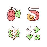 alérgeno estacional causa conjunto de iconos de colores rgb vector