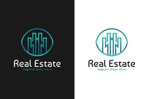 Real Estate Logo in Blue and Green Gradient with Line Style. Construction, Architecture or Building Logo Design Template vector