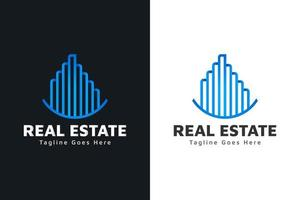 Modern Real Estate Logo in Blue Gradient with Line Style. Construction, Architecture or Building Logo Design Template vector
