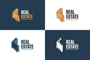 Luxury Real Estate Logo in Golden Gradient. Construction, Architecture or Building Logo Design Template vector