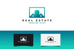 Modern Real Estate Logo in Blue and Green Gradient. Construction, Architecture or Building Logo Design Template vector