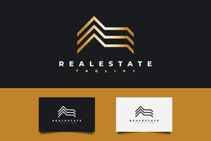 Real Estate Logo in Gold Gradient with Line Style. Construction, Architecture or Building Logo Design Template vector