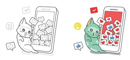Cat and smart phone with social icons cartoon coloring page vector