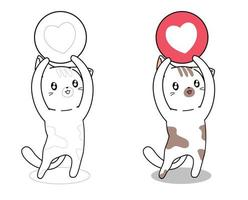 Cat with heart icon cartoon coloring page vector