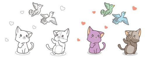 Cats are seeing birds cartoon coloring page vector