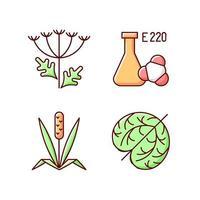 alérgenos rgb conjunto de iconos de color vector