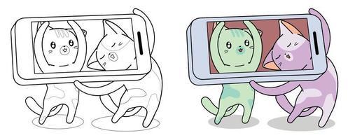 los gatos están tomando una foto a través de la página para colorear de dibujos animados de teléfonos inteligentes vector