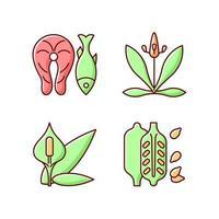 alérgenos comunes conjunto de iconos de colores rgb vector