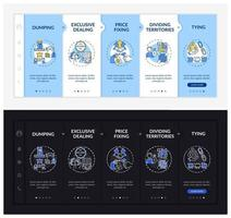 Uncompetitive policies onboarding vector template