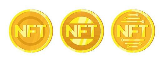 NFT. Non fungible tokens set in cartoon style. Online money for buy exclusive art. Vector illustration design.