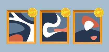 Online exclusive gallery with NFT tokens concept. Vector design