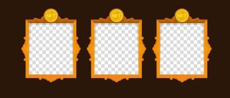Online exclusive gallery with NFT tokens template. Vector design
